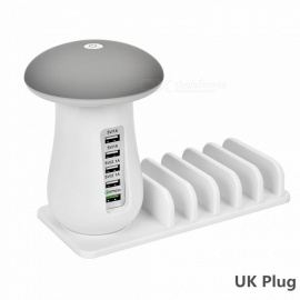 Creative Mushroom Style 5 USB 5V 6A Charger with LED, QC3.0 Fast Charging Holder - White (UK Plug)