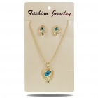 Stylish Eye Shaped Metal + CrystalNecklace + Earrings Jewelry Set (Gold + Blue)