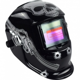 HakkaDeal WN-107T Skeleton Hold Pistol Pattern Welding Helmet Auto Light Changing Welding Mask Head Band Welder Goggles - Black