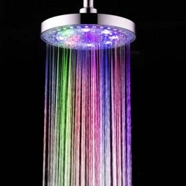 "8"" A-Grade ABS Chrome Finish Round 7-Color LED Rain Shower Head - Silver"