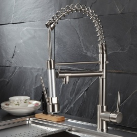 Brass Brushed Pull-out/­Pull-down 360 Degree Rotatable One-Hole Kitchen Faucet with Ceramic Valve, Single Handle