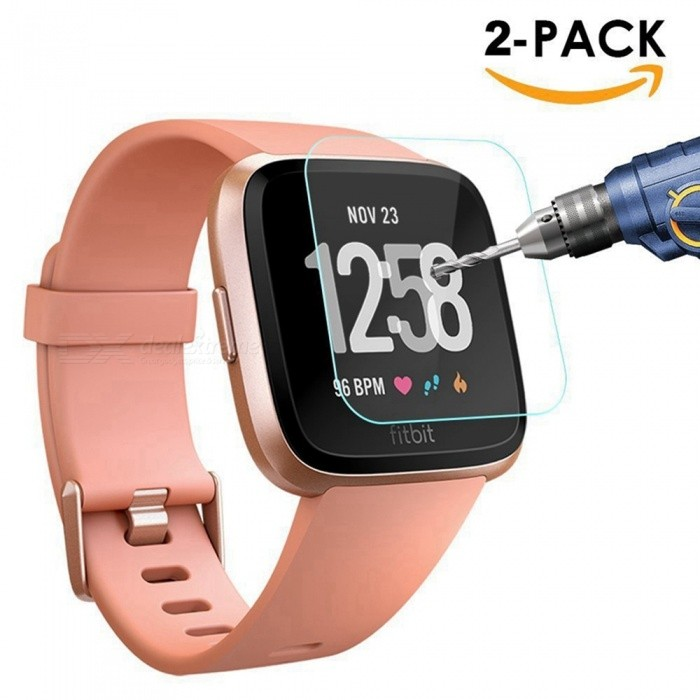 [2-PACK] Miimall Premium HD Clear 9H Hardness Tempered Glass Screen Protector Film for Fitbit Versa Smart Watch
