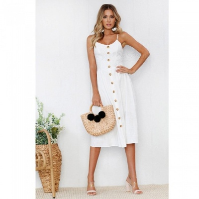 Women's Sexy Button Sling Solid Color Polyester Long Dress - White (L)S