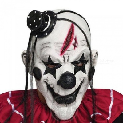 Deluxe Horrible Scary Clown Mask Adult Men Latex White Hair Halloween Clown Evil Killer Demon Clown Mask Clown Mask