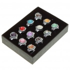 Fashion Colors Crystal Finger Ring Watch (12-Piece Pack/1*AG4)