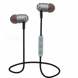 OJADE Bluetooth 4.1 Magnetic Absorption Headsets Noise Reduction Sports Bass Headphone Sweatproof Stereo Earphone - Grey