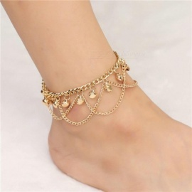 New Women Girl Tassel Chain Bells Sound Gold Metal Chain Anklet Ankle Bracelet Foot Chain Jewelry Beach Anklet  Ankle Bracelet