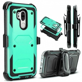 JEDX Heavy Duty PC + TPU Hybrid Belt Clip Kickstand Case for  LG G7