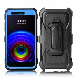 JEDX Heavy Duty PC + TPU Hybrid Belt Clip Kickstand Case for LGV5 K10(2018)K30 - Blue