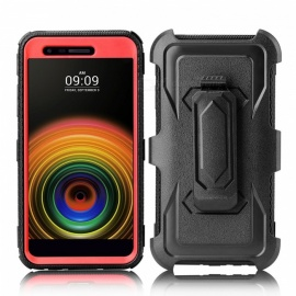 JEDX Heavy Duty PC + TPU Hybrid Belt Clip Kickstand Case for LGV5 K10(2018)K30 - Red