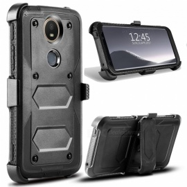 JEDX Heavy Duty PC + TPU Hybrid Belt Clip Kickstand Case for Moto E5 Plus - Black