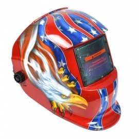 HakkaDeal WN-107T Eagle Pattern Welding Helmet Automatic Light Changing Welding Mask Head Band Welder Goggles - Red