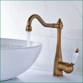 Antique Brass 360 Degree Rotatable Single Handle One-Hole with Ceramic Valve, Bathroom Sink Faucet