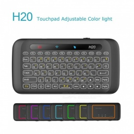 Measy 2.4G mini ratón remoto inalámbrico teclado IR que se inclina H20 con retroiluminación LED touchpad multitáctil