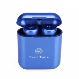 Measy Wireless Earbuds Touch Control Bluetooth Headphones True Cordless Earphones with Microphone Charging Box - Blue