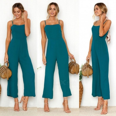 Sexy Suspenders Fashion Polyester Jumpsuit - Blue (S)