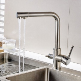 Brass Brushed 360 Degree Rotatable Ceramic Valve Two Handles One-Hole Kitchen Faucet with Water Purification Feature