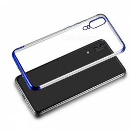 Fashion Electroplating Slim Soft Clear TPU Protective Case Cover for Huawei P20 - Blue