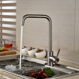 304 Stainless Steel 360 Degree Rotatable One-Hole Kitchen Faucet with Ceramic Valve, Single Handle