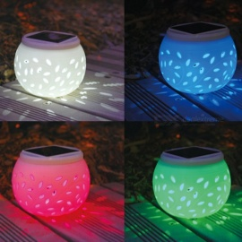 Solar Energy Seven Color Hollow-Out Ceramic Atmosphere Can Be Outdoor Decorative Lamp Waterproof