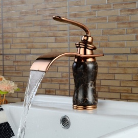 Brass Deck Mounted Ceramic Valve One Hole Lmitation Marble Rose Gold, Bathroom Sink Faucet w/ Single Handle