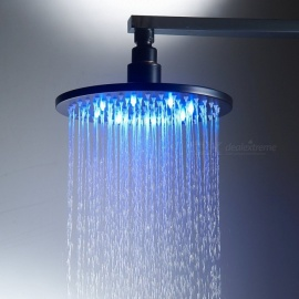 8 Inch Stainless Steel RGB LED Rain Shower Head - Black