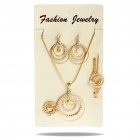 Elegant Round Shaped Necklace + Bracelet + Earring + Opening Ring Jewelry Set (Gold)