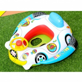 Kids Inflatable Water Toy Swimming Ring With Steering Wheel Swimming Pool Toy For Children Adults White
