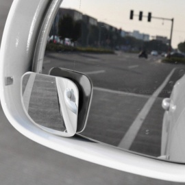 2pcs Car Styling Clear Rearview Mirror 360 Rotating Safety Wide Angle Blind Spot Mirror Parking Round Convex Accessories Silver
