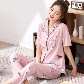 Summer Pyjamas Set Women\'s Cotton Nightgown Short Sleeves Top + Pants Set Pajamas Home Clothes Beige/M