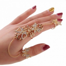 Rhinestone Flower Butterfly Full Finger Rings for Women Gold Chian Link Double Armor Ring ring sizer best friend rings