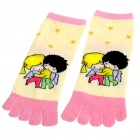 Cute Cotton Five Fingers Toe Socks - Multi Color (Pair)