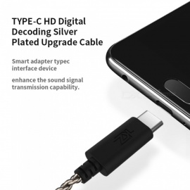 KZ A Type For ZS3/ZS4/ZS5/ZS6/ZSA Earphones Type-C HD Audio Decoding Silver Plated Upgrade Wire Cable Detachable 0.75mm Pin