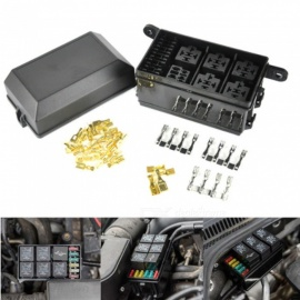 12-Slot Relay Box [Easy Installation]  - Fuse Relay Box for Automotive and Marine Use