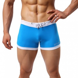 YUYANG Europe and the United States Men's Low Waist Summer Swimming Trunks - Blue (XL)