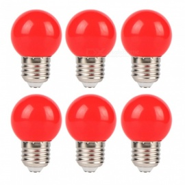 YouOKLight 3W E26/E27 Red LED Light Bulb Plastic Energy Saving Lamp Home Christmas Decor Lighting, AC220V, Pack of 6 - Red