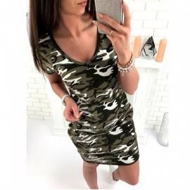 Fashion Casual Camouflage Loose V Neck Dress Camouflage Green-S