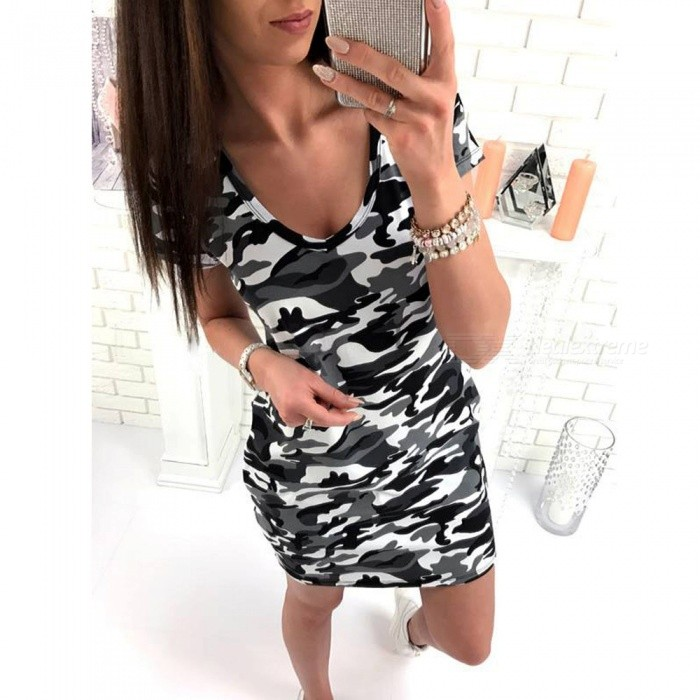 Fashion Casual Camouflage Loose V Neck Dress Camouflage Gray - XL