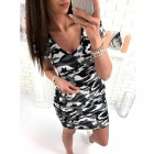 Fashion Casual Camouflage Loose V Neck Dress Camouflage Gray - L