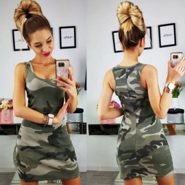Sexy Camo Print Slim Sleeveless Dress Camouflage Gray - S