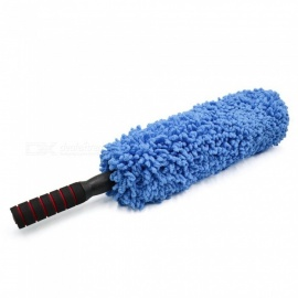 Plastic Retractable Hand Grip Microfiber Car Duster Waxing Brush - Blue