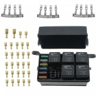 12-Slot Relay Box 6 Relays 6 Blade Fuses - Fuse Relay Box with fuse and 4pins 12V 40A relay for Automotive Marine and boat