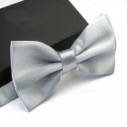 12cm x 6cm Men's Fashion Tuxedo Bowtie Butterfly Bow Ties for Men Wedding Party Polyester Wedding Party Bowtie Silver