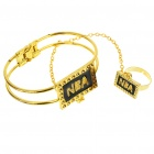 2-in-1 Bracelet + Opening Ring Jewelry Set - Gold + Black (2-Set Pack)