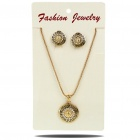 Vintage Crystal Alloy Lion Head Pattern Pendant Necklace + Earrings Jewelry Set