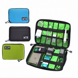 Digital Storage Bag Electronic Accessories Bag Hard Drive Organizers For Earphone Cables USB Flash Drives Travel Case Blue
