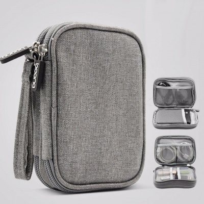 Travel Electronic Accessories Cable Organizer Bag Portable Case SD Cards Flash Drives Wires Earphones Double Layer Box Dark Gray