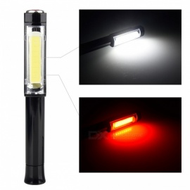 Multifunction COB LED Mini Pen Light Work Inspection Flashlight Torch Lamp With Bottom Magnet And Clip Red White Light 3W/Black