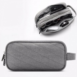 Multi-function Storage Bag Travel Package Business Travel Data Line Code Digital USB Data Cable HDD Organizer Dark Gray