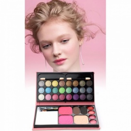 33 Color Combination Bag Eyeshadow Blush Powder Earth Color Nude Makeup Cosmetics Set Shimmer Eye Shadow Beauty Tools Pink